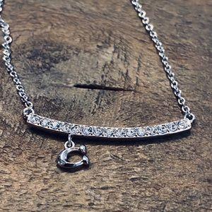 COACH Signature Pave Bar Necklace Silver